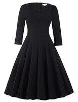 3 4 Long Sleeve Winter Women Dress 2016 Black Cotton Ruched Bodice Retro Vintage 50s Rockabilly