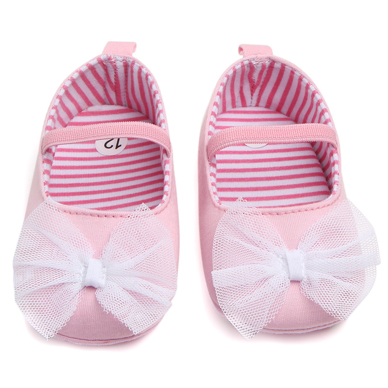 Cotton Fabric Baby Girl Shoes Newborn Lace Bow Knot First Walkers Sneakers Infant Soft Anti-slip Shoes Prewalker 0-18M