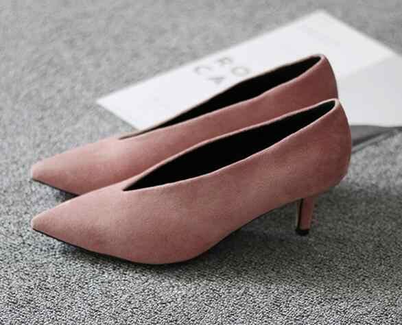 Xgravity 2020 Ngôi Sao Nhạc Pop Mũi Nhọn Nữ Mỏng Gót Người Phụ Nữ Giày Sâu V Thiết Kế Nữ Thời Trang Châu Âu Nữ giày C264