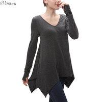 VITIANA Women Spring Autumn Loose Casual Black Dark Gray Top V Neck Long Sleeve Irregular T