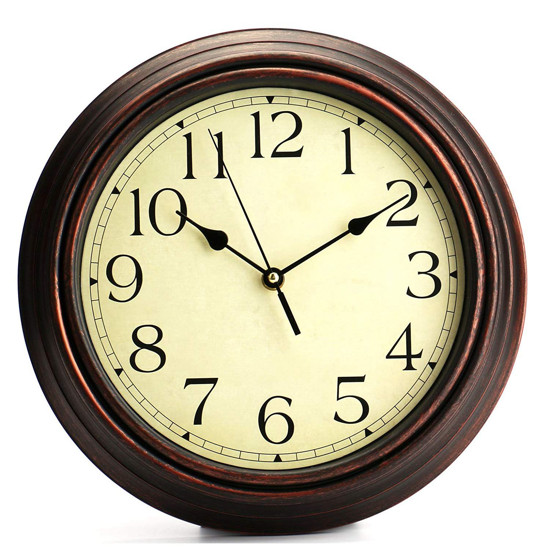 12-Inch Round Classic Clock Retro Non Ticking Quartz Decorative Wall Clock