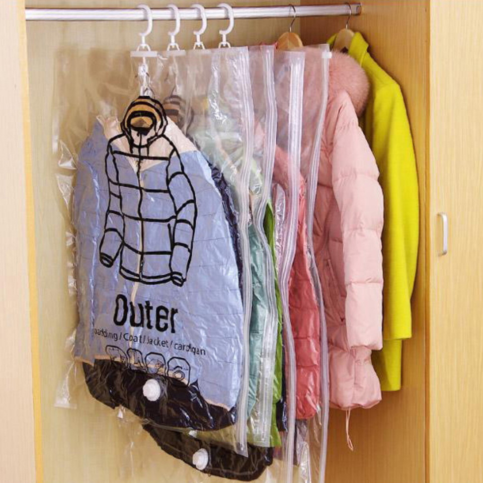 Can Hang Vacuum Bags For Clothes Foldable Transparent Large Medium Hanging Storage Bag Compressed Cover  Pump