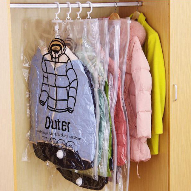 Can Hang Vacuum Bags For Clothes Foldable Transparent Large Medium Hanging Vacuum Storage Bag Compressed Cover For Clothes  Pump