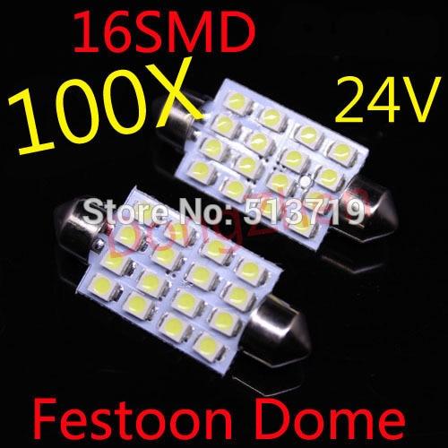 2014 new 100x 16SMD 24v White <font><b>LED</b></font> <font><b>41</b></font> <font><b>mm</b></font> Car Dome Festoon Interior Light Bulbs Auto Car Festoon Licence Plate Dome Roof