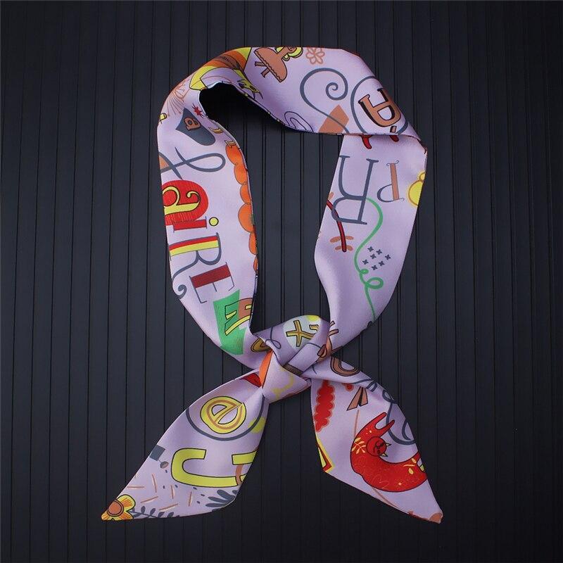 Women Silk Scarf Skinny Fashion Ribbon Hair Scarfs Female Print Bag Hand Wrap Scarves Tie Designer Headwear