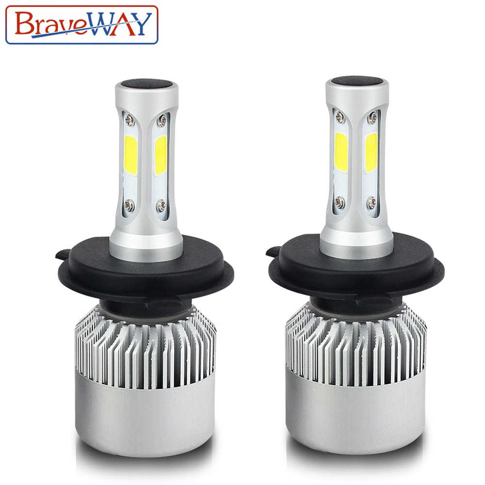BraveWay H4 LED H7 H11 H1 H3 9005 9006 Car H8 LED Headlight Bulbs Hi-Lo Beam 72W 8000LM 6500K Fog Light Bulb S2
