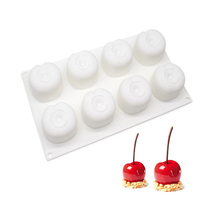 1Pcs 8 Cavities Cherry Shape 3D Silicone Cake Mould For Chocolate Mousse Pastry Baking Decorating Tool