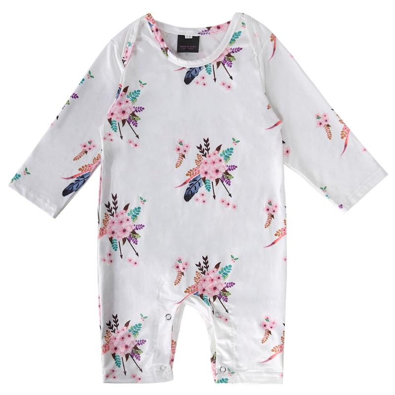 New Baby Overall Soft Cotton Floral Flower Spring Infant Rompers Girls Boys Long Sleeve Jumpsuit Body Suit
