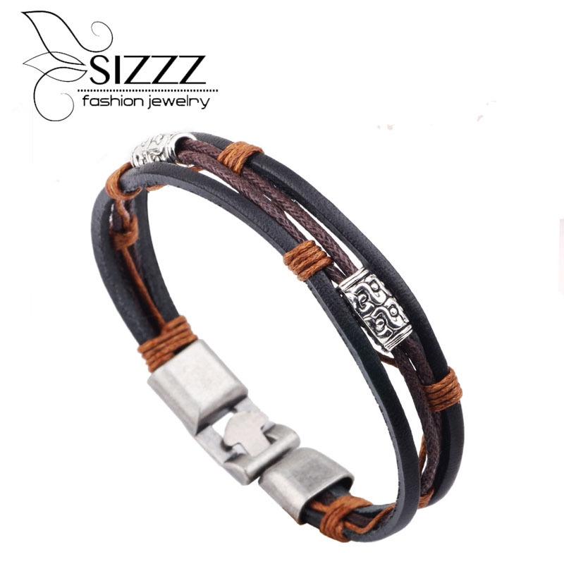 2016 new fashion jewelry wholesale punk cool men genuine leather stainless steel bracelets for male