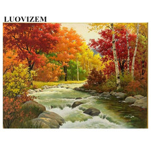 5D Diamond Painting Landscape Embroidery Full Drill Waterfall Forest  Diy Cross Stitch Rhinestone Mosa