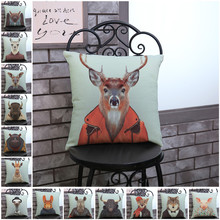 Cushion Pillowcase Car-Chair Animal Sofa Throw Image-Decoration Dog Elk for Almofadas