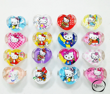 20pcs lovely animation cartoon childrenkids cartoon heart shaped hello kitty kt cat acrylic lucite resin rings free shipping