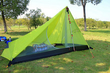 Ultralight 15D coated silicon fabric double layer waterproof windproof single person camping tent