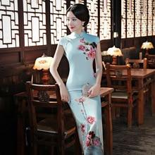 Cheongsam Long Section 2018 New Slim Retro Peony Lotus Crane Ladies Elegant Silk Modified Long Cheongsam Dress