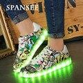 Spansee usb shoes con luz led up shoes luminoso que brilla intensamente shoes sneakers con suelas ligeras cesta led zapatillas infantil chicos entrenador