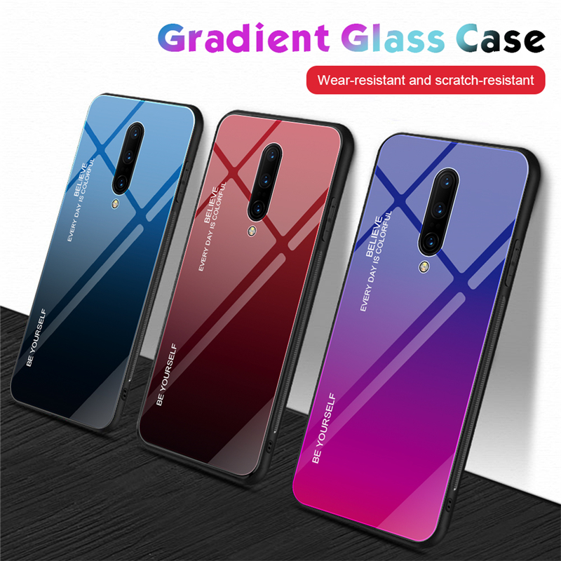 Luxury Tempered Glass Phone Case For font b Oneplus b font 6 6T Coque Aurora Gradient