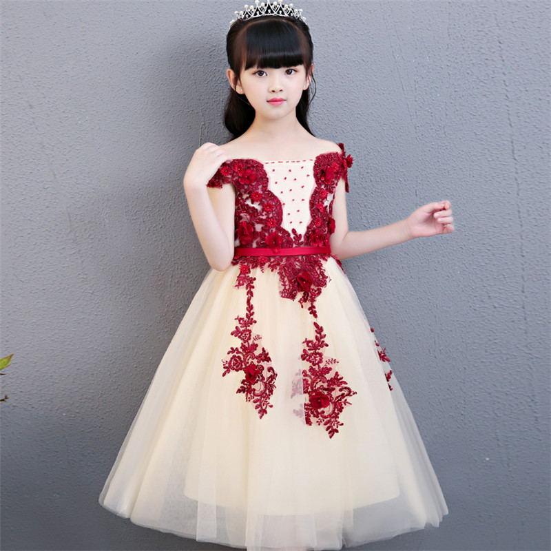 3-15year Kids Girls Luxury Wedding Birthday Flowers Girl Dress Elegant Princess Party Pageant Formal Sleeveless Lace long Dress vintage lace baby girl wedding pageant dress infant princess little girls birthday party dress lace big bow sleeveless dress