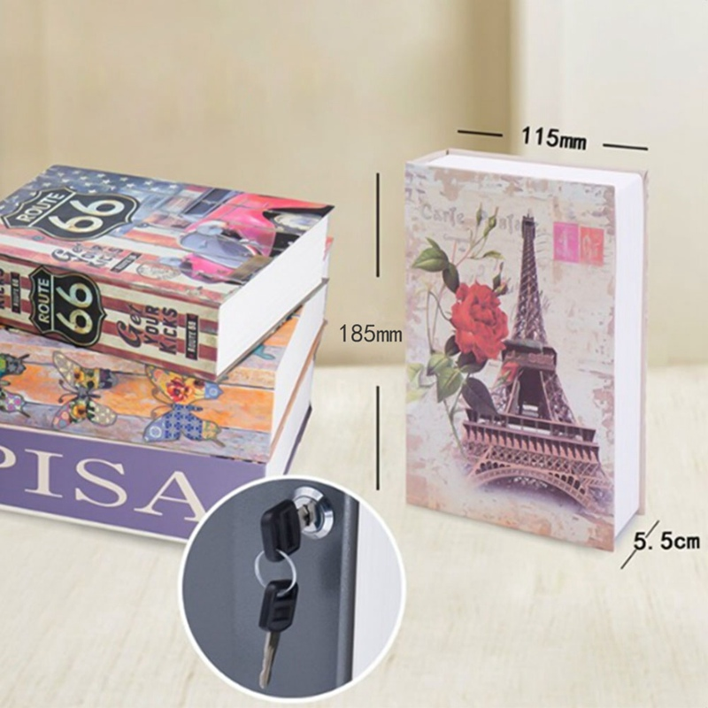 Key Lock Book Safes Hidden Safe Box Travel Home Money Jewelry Security Steel Simulation Book 185*115*55mm