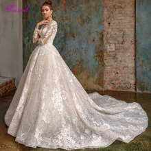 Fsuzwel A-Line Wedding Dress 2019 Long Sleeve Chapel Train