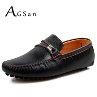 AGSan Men Italian Shoes Genuine Leather Loafers 2017 Autumn Luxury Brand Driving Shoes Slip On Boat
