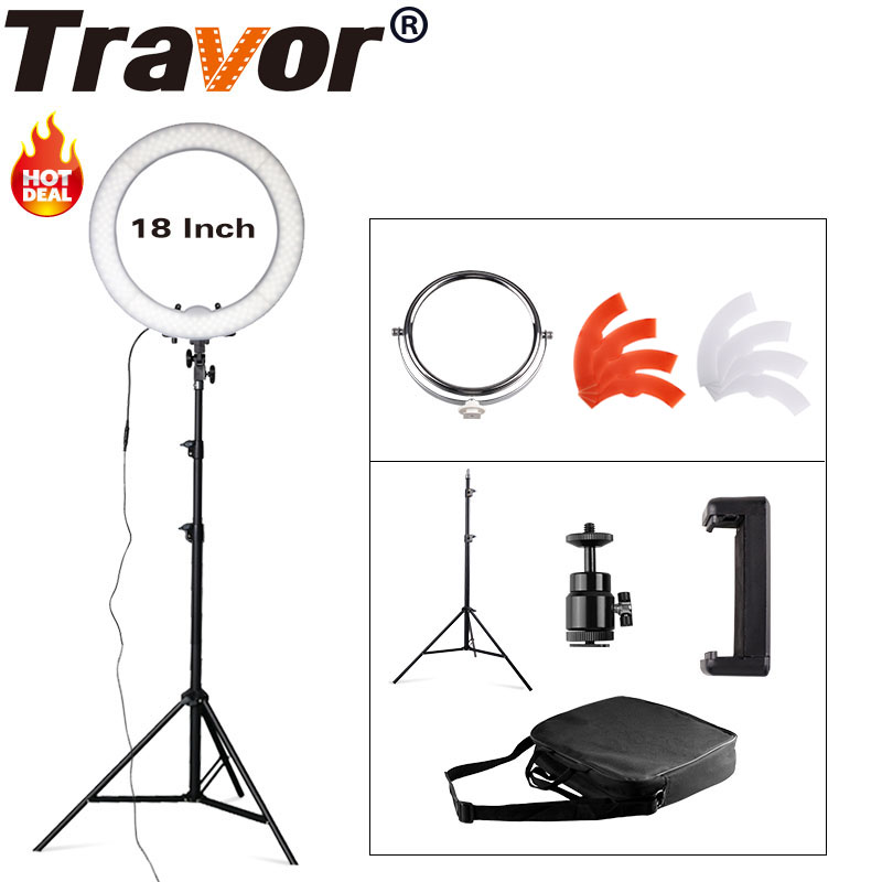 """Travor Studio Dimmable 18"""" 55W 5500K LED Camera Mirror Video Ring Light Kit with 2M Stand, Color Filer and Carry Bag for Makeup"""