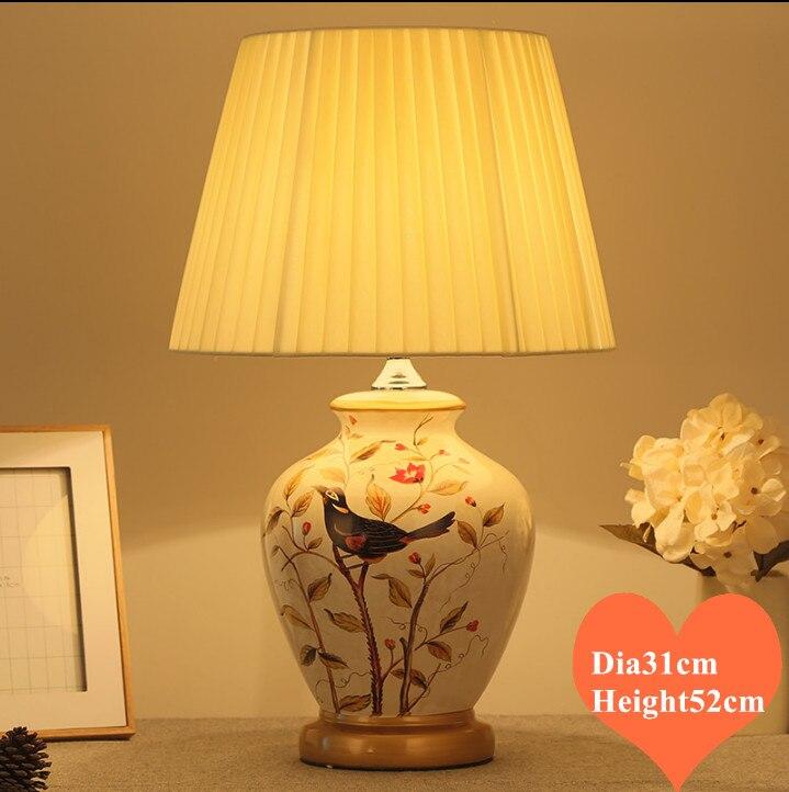 Lampes de Table en céramique d'oiseau de style chinois lampe blanche corps tissu classique E27 lampe à LED pour chevet et foyer et studio et salon de thé MF003