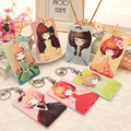 2017 Newest Cute Girls Business Credit Card Holder Bags Cards Case Bus ID Holders Keepers with Kids Keyring Key Chain Set