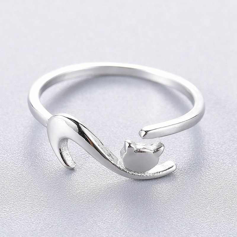 Personality Creative Naughty Kitten Open Ring Sticky Cat With Long Tail Ring Female Adjustable Engagement Ring Jewelry