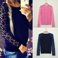 2015 Autumn Winter Cute Patchwork Lace Flower Crochet Pullover Knitted Women Sweater Long Sleeve Hollow Out Casual Loose Sweater