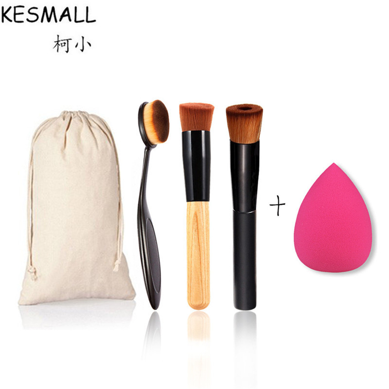 KESMALL 4pcs Makeup Brushes Set With Case Powder Foundation Brush Sponge Puff Contour Cosmetic Tools Kit pinceis maquiagem CO360 candy color calabash shaped cosmetic makeup cotton pads sponge puff pink