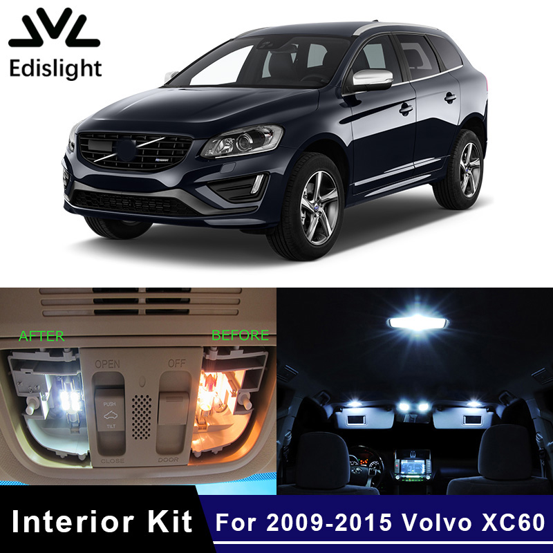 US $14 33 40% OFF|Edislight 14Pcs White Canbus No Error LED Lamp Car Bulbs  Interior Package Kit For 2009 2015 Volvo XC60 Map Dome Door Plate Light-in