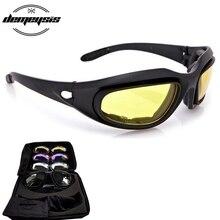 C5 Polarized Army Goggles, Military Sunglasses 4 Lens Kit, Men's Desert Tactical Glasses Sport Polarized Glasses