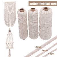 3 Size 1/2/3mm Braided Soft Beige Twisted Cotton Rope Cord Craft Macrame String DIY Handmade Tying Thread Macrame Cord Rope