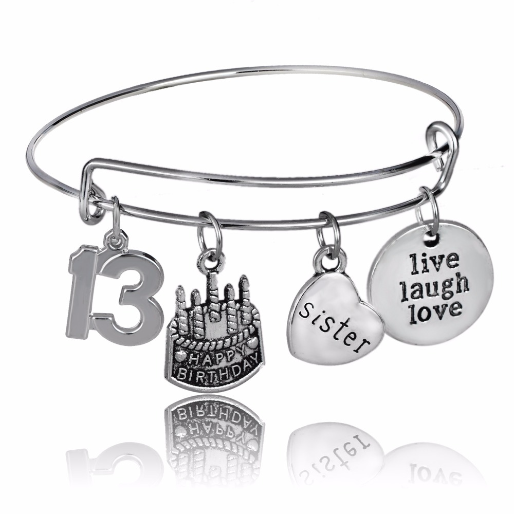 Sister Sis Heart Live Laugh Love Heart Bangles Women Family Bracelets Number 13 Happy Birthday Cake Wristband Party Gift Jewelry