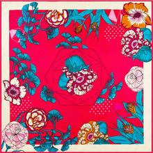 Muslim Kerchief Florals Flowers Leaves Pure Twill Silk 100cm Square Scarf Women Brand Shawl Scarves Silk Foulard Cover-ups