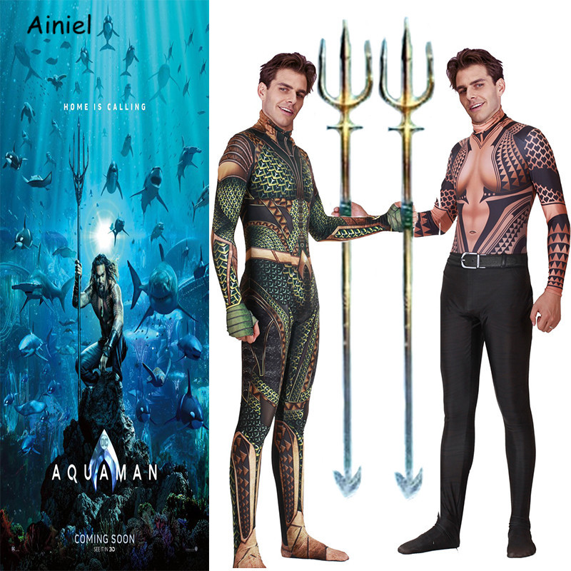 Anime Movie Justice League Aquaman Cosplay Costume Arthur Curry Orin Halloween Party Costumes Zentai Jumpsuit for Kids Men Adult