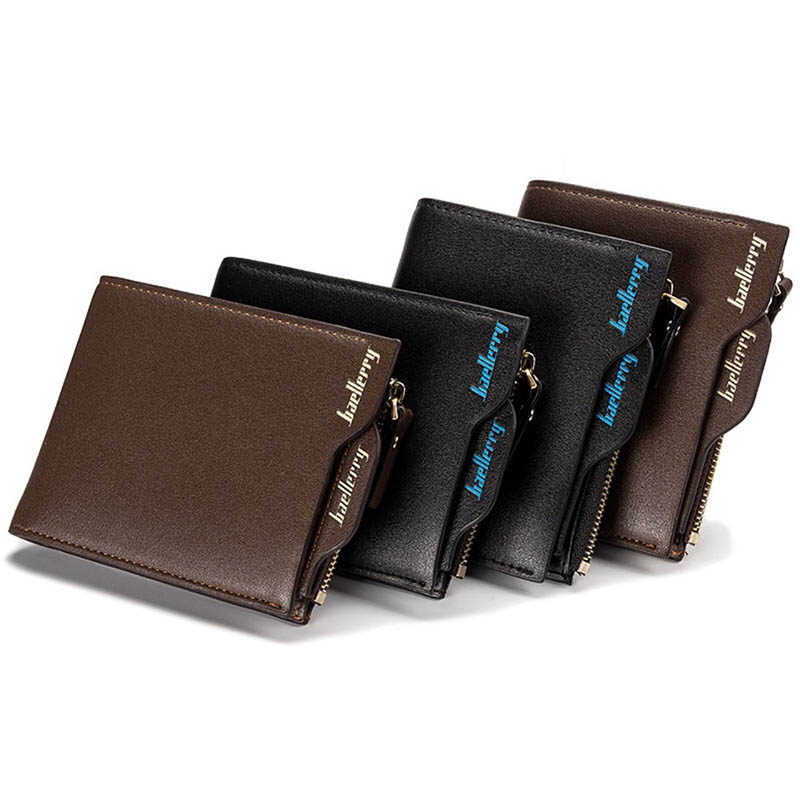 Baellerry Short Leather Men Wallets Coin Pocket ID Credit Card Holder Male 3 fold Clutch Wallet Men Money Bag Purses Cuzdan W023