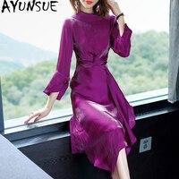 Весна 2019 линия офис элегантное платье Для женщин корейский фиолетовый миди платье Тонкий вечерние женские платья осень Винтаж Vestido KJ1763