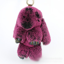 2017 trinket BIG MORE 15CM fake pompom keychain bunny keychains on bag rabbit fur Keychain fur pom pom charms for bags anime