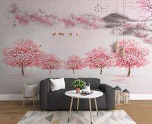 c3973d26bb49b8 Nieuwe Chinese Behang 3D Roze Perzik bloesem Bloemen Behang Home  Decoratieve Romantische Meisjes Kamer Muurschilderingen