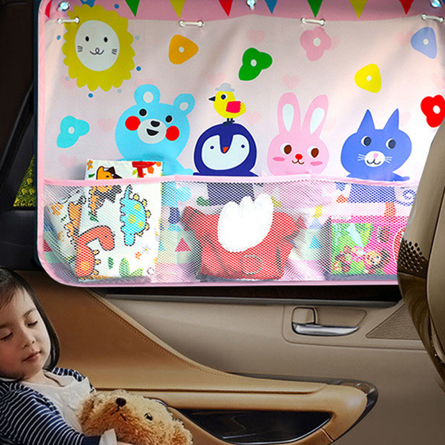 be413c4af63 Cute Animal Car Window Cover Sunshade Auto Sun shades Protector Anti Sun UV  Mesh Stowing Storage Bag With Suction for Kids baby