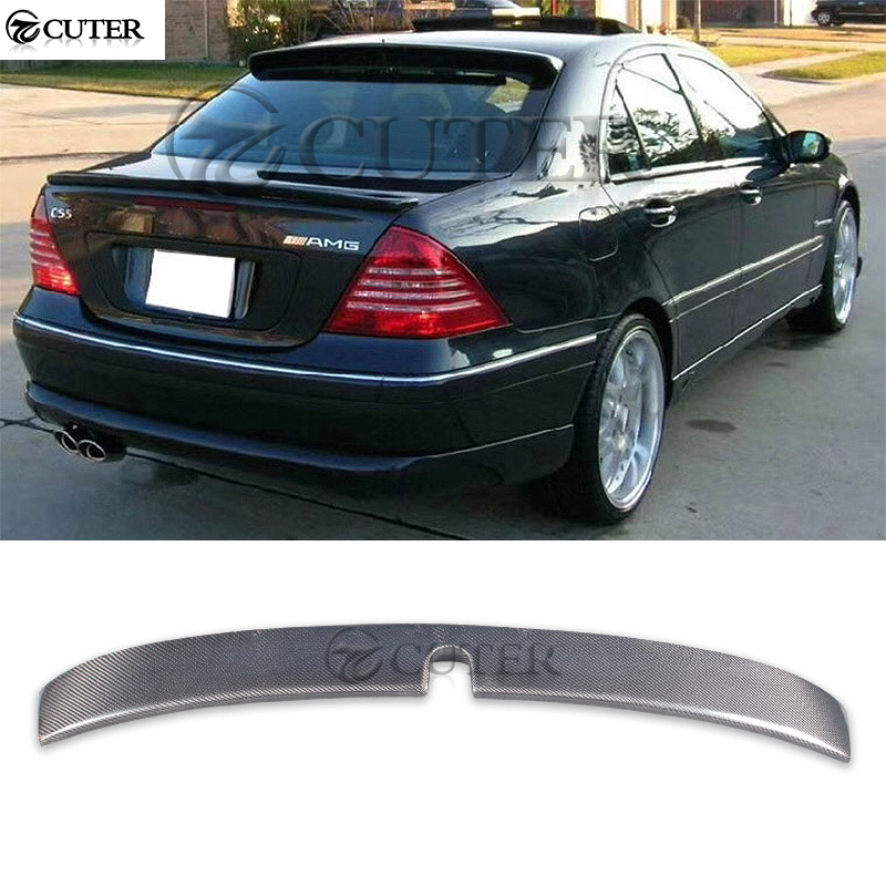 <font><b>W203</b></font> AMG style Carbon fiber rear <font><b>spoiler</b></font> top wings roof wings for Mercedes Benz <font><b>W203</b></font> C200 C230 car body kit C63 AMG style 00-06 image