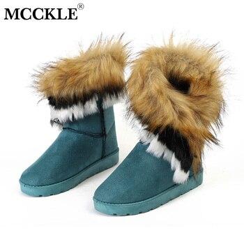 MCCKLE/женские зимние ботинки, большие размеры, Зимние ботильоны с искусственным мехом, прошитая обувь на плоской подошве, Женская удобная обу...