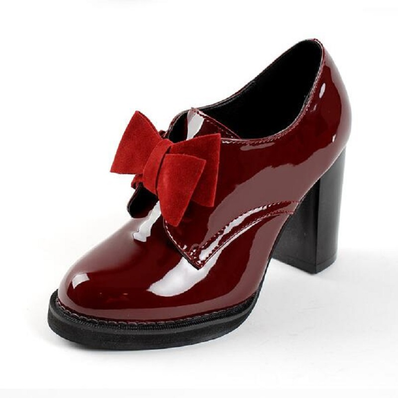 Sweet Bow Round Toe Patent Women Slip-on High Heel Oxford Shoes Fashion Girls College Casual Shoes Women Loafers Pumps Size 43 female high quality sweet bow knot plus size 35 44 round toe women shoes on flats casual footwear matching shoes and bags italy