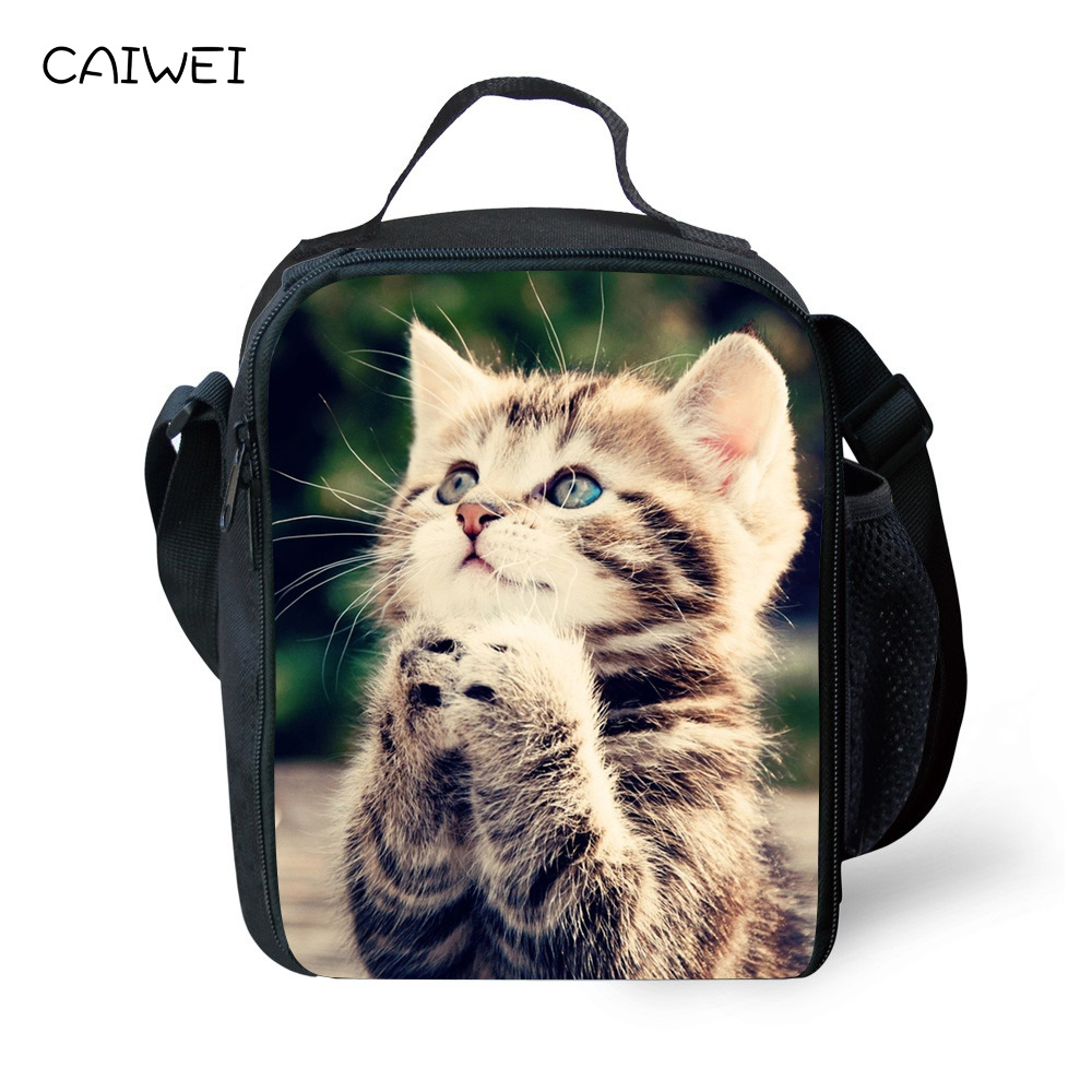 Kids Lunch Bag Cute Cat Animal Print Portable Insulated Thermal Cooler Food Container Carry Bag Small Travel Picnic Handbag