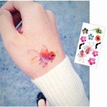 Color Goldfish Flash Tattoo Hand Sticker 10.5x6cm Small Waterproof Henna Beauty Temporary Body Tattoo Sticker Art FREE SHIPPING