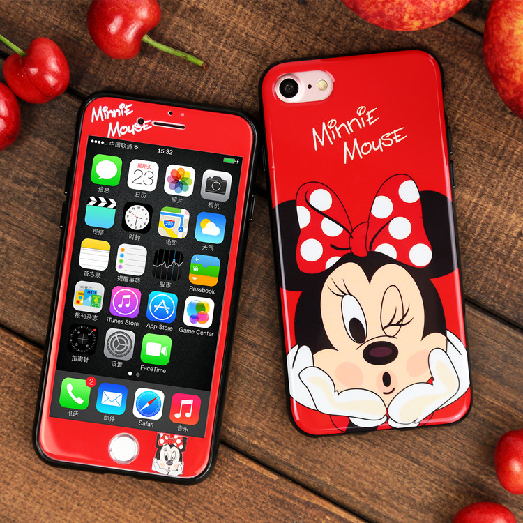 For iphone 7 7plus Cartoon Mouse phone Cases Cover + Tempered Glass Screen Protector Case for iPhone 8 8plus X 6 6s Plus Fudas