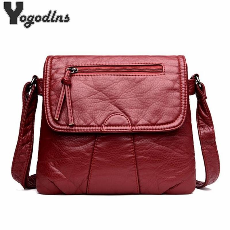 Black Small Women Messenger Bag Soft Washed PU Leather Crossbody Bag Female Handbag Purses