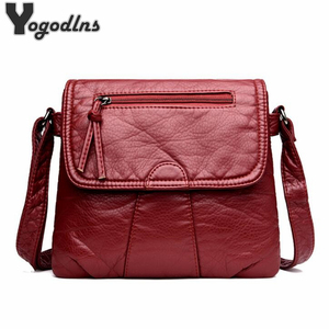 Black Small Women Messenger Bag Soft Washed PU Leather Crossbody Bag Female Handbag Purses
