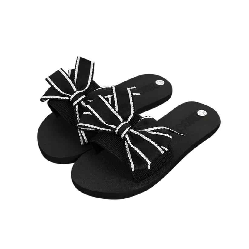 91adb8a0aae79 YOUYEDIAN women slippers summer Bow sandals outdoor ladies mules shoes  summer slippers for beach flip flops